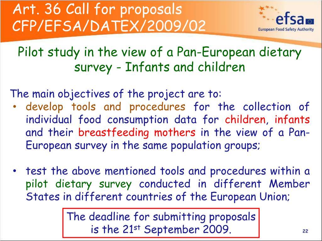 Art. 36 Call for proposals CFP/EFSA/DATEX/2009/02