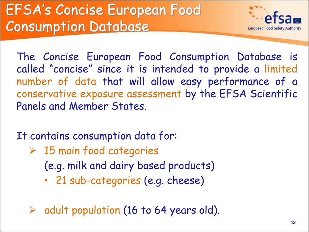 EFSA's Concise European Food Consumption Database