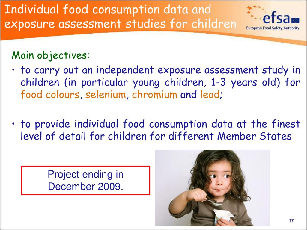 Individual food consumption data and exposure assessment studies for children