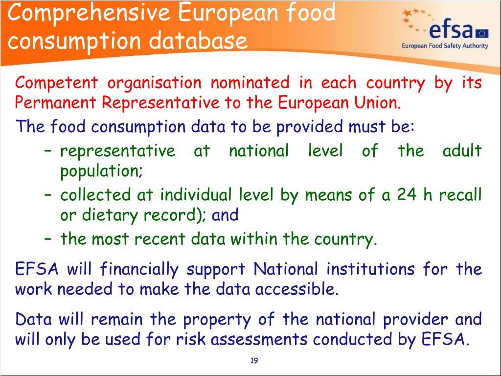 Comprehensive European food consumption database