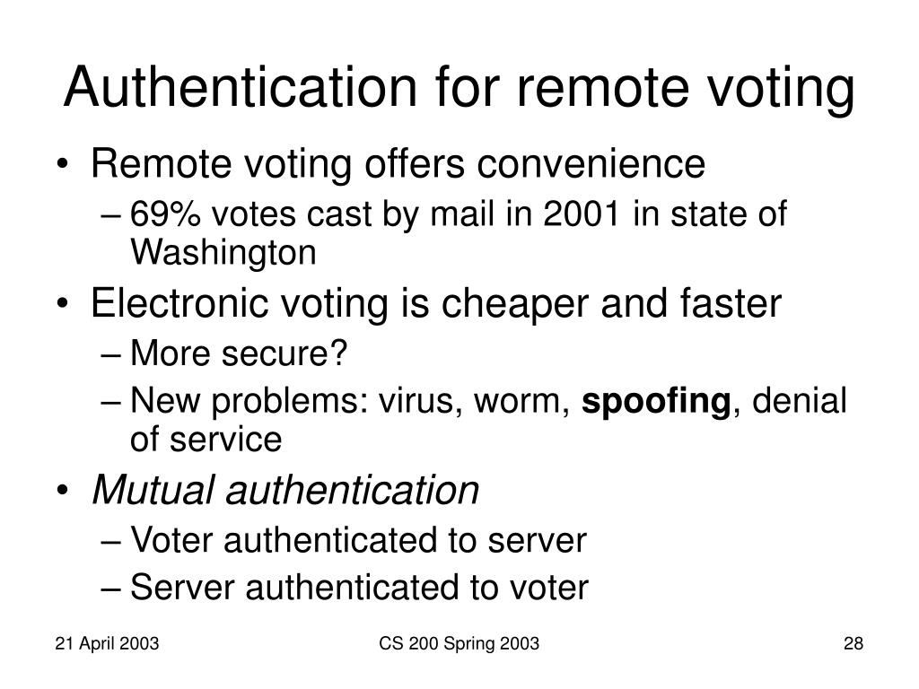 Authentication for remote voting