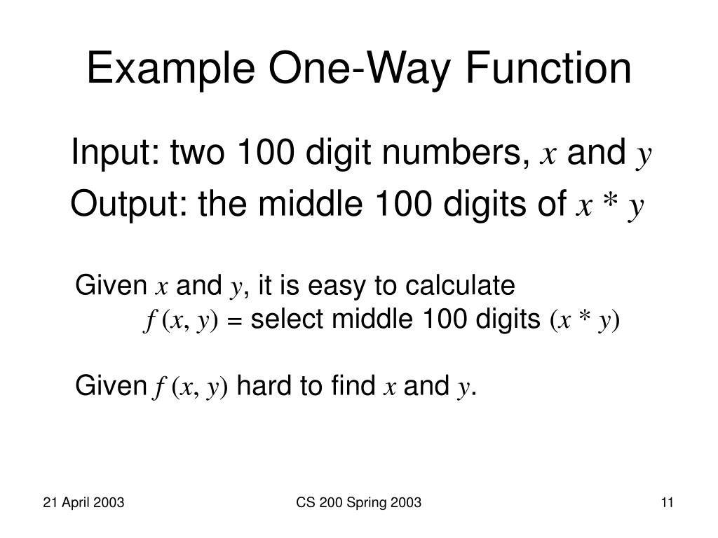 Example One-Way Function