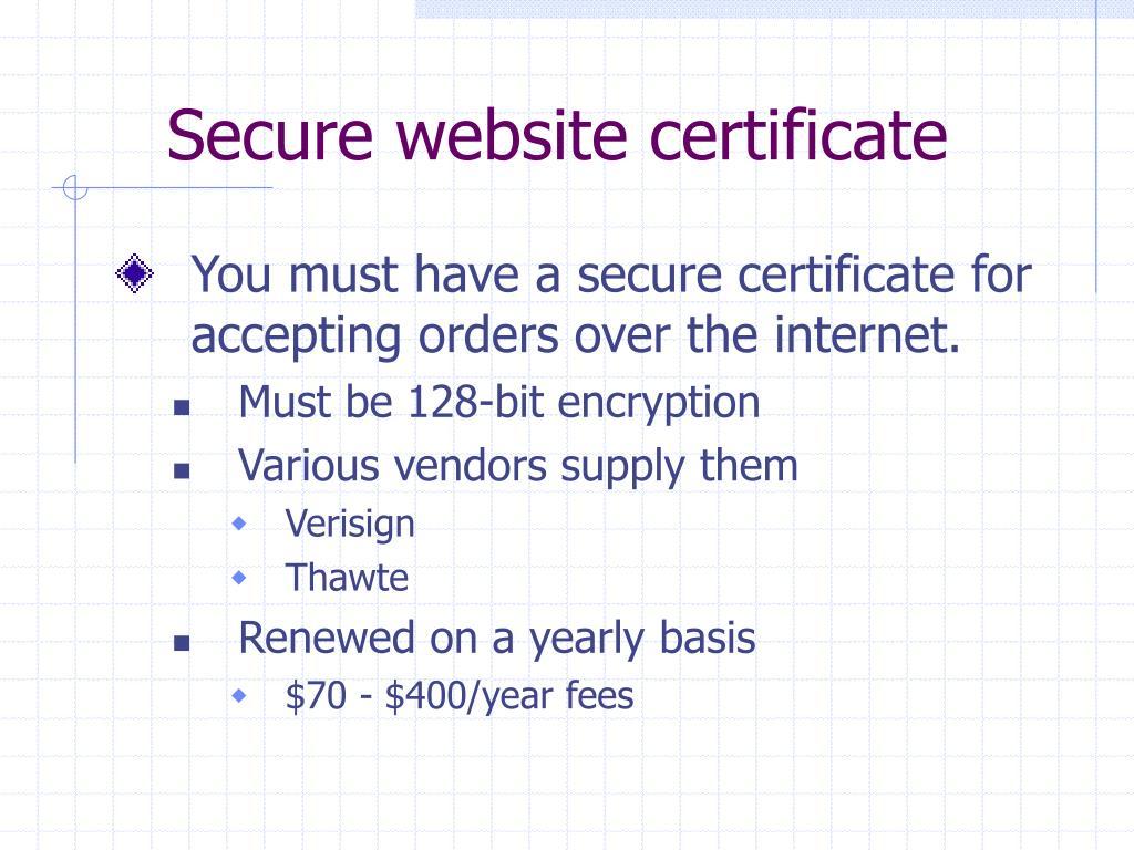 Secure website certificate