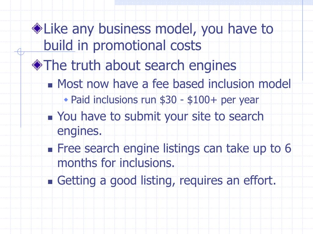 Like any business model, you have to build in promotional costs