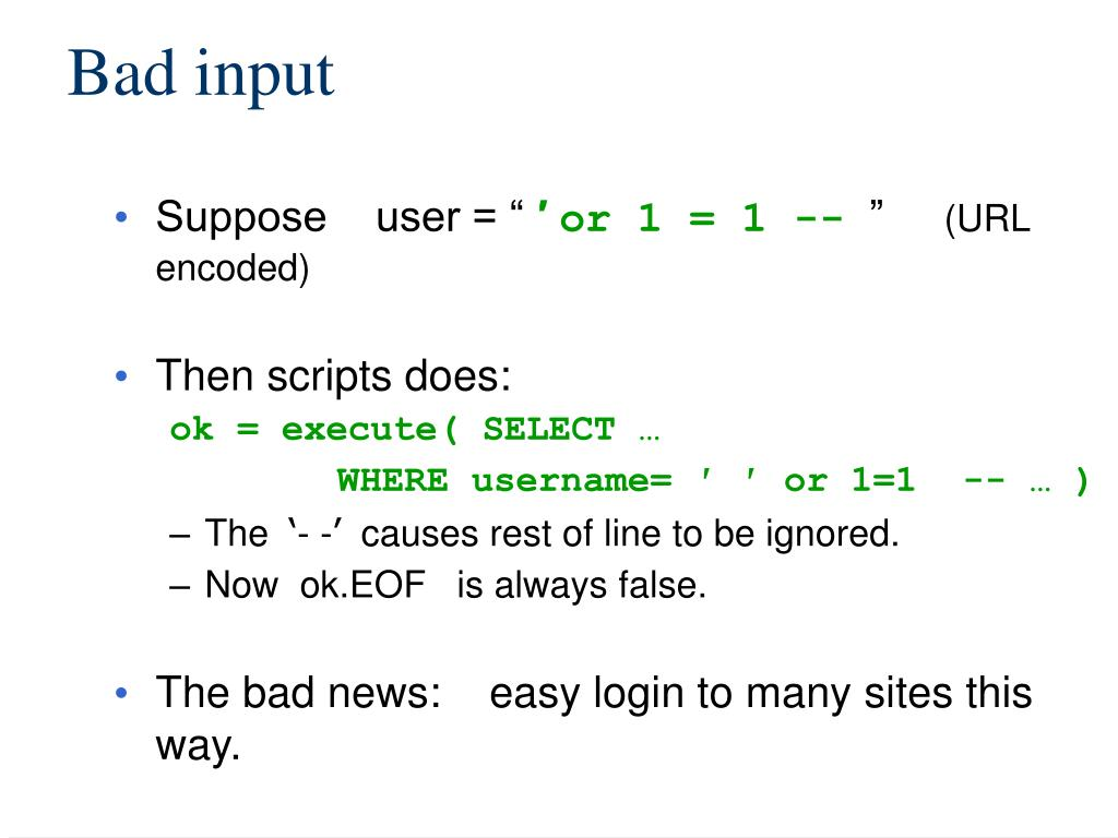 Bad input