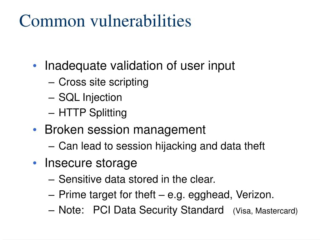 Common vulnerabilities