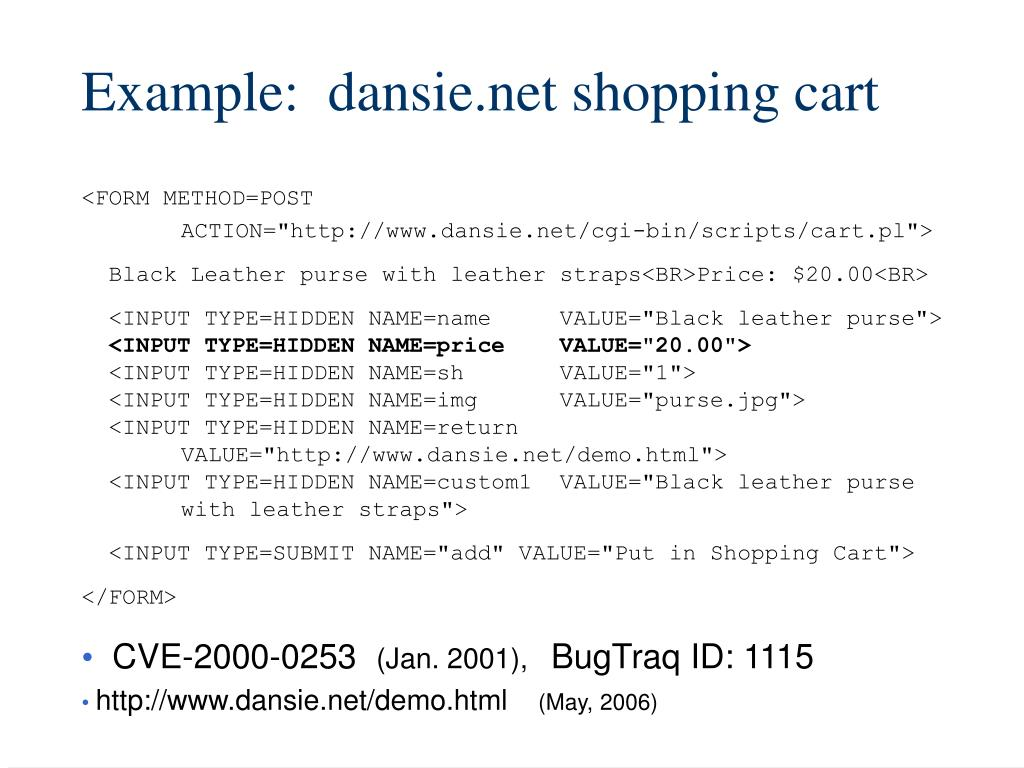 Example:  dansie.net shopping cart