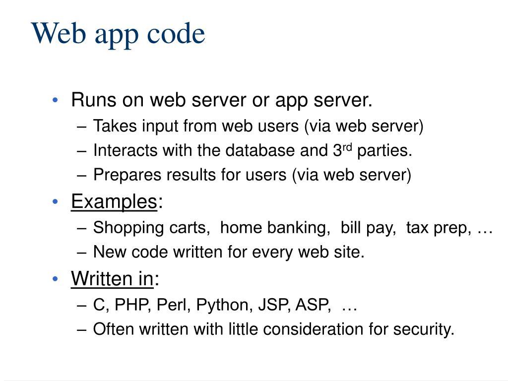 Web app code