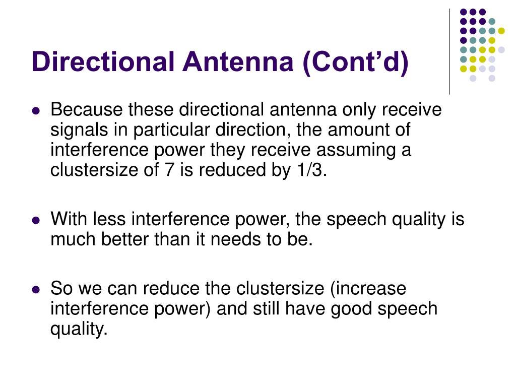 Directional Antenna (Cont'd)