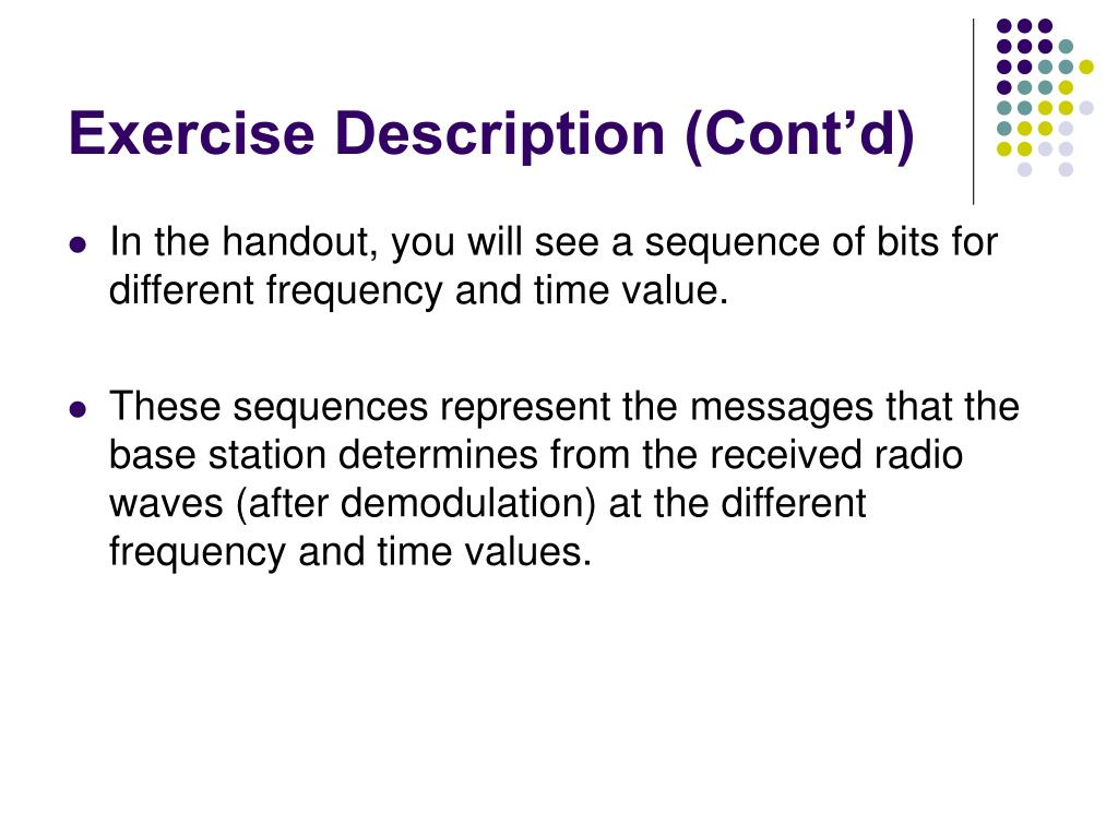 Exercise Description (Cont'd)