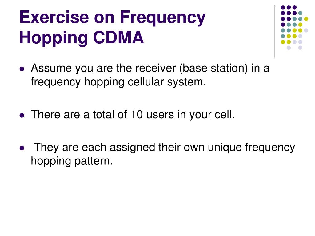 Exercise on Frequency Hopping CDMA
