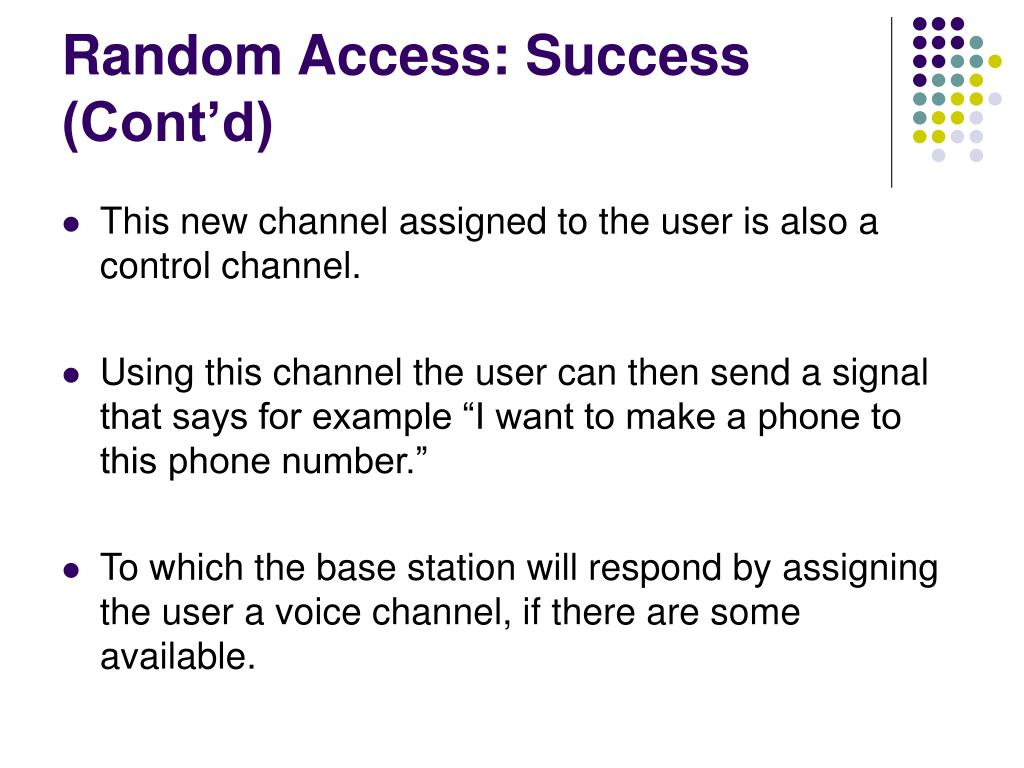 Random Access: Success (Cont'd)