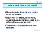 how is each type of risk used