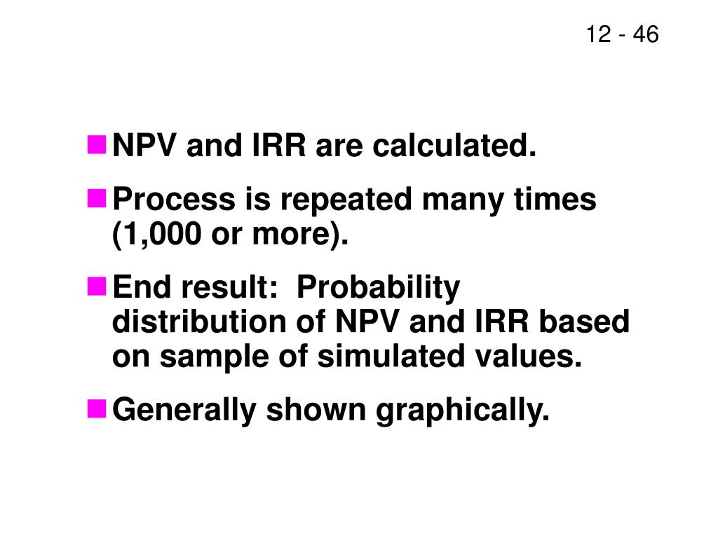 NPV and IRR are calculated.