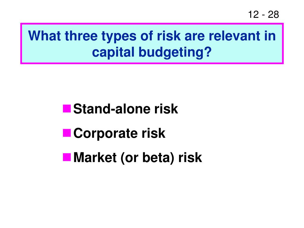 What three types of risk are relevant in capital budgeting?