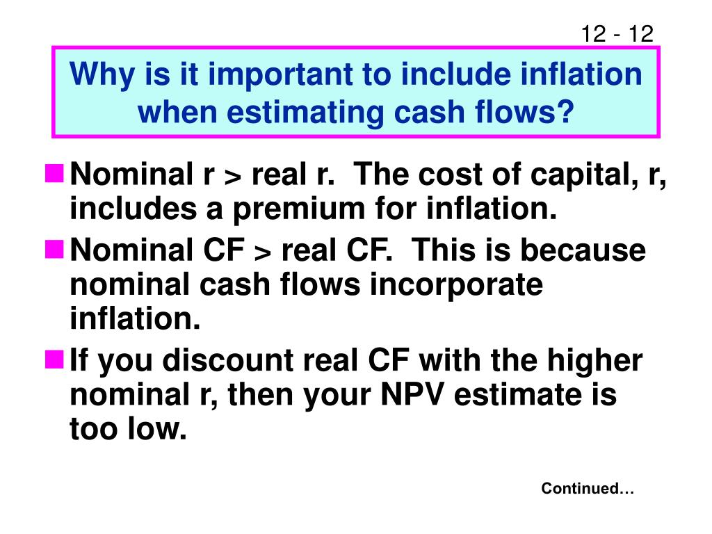 Why is it important to include inflation when estimating cash flows?