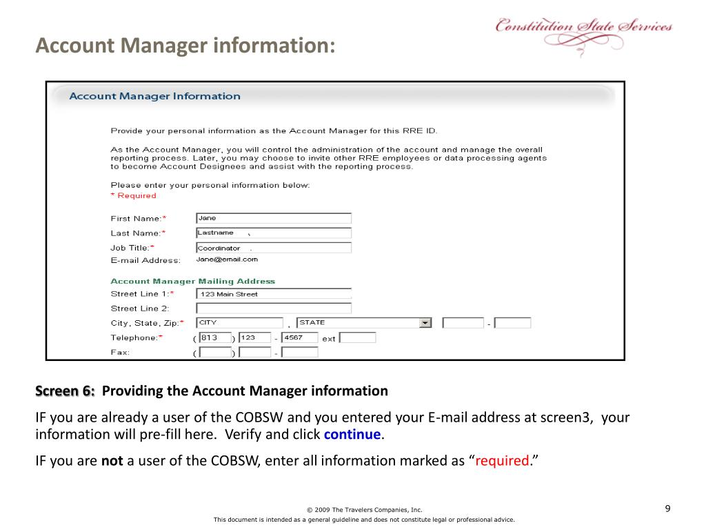 Account Manager information: