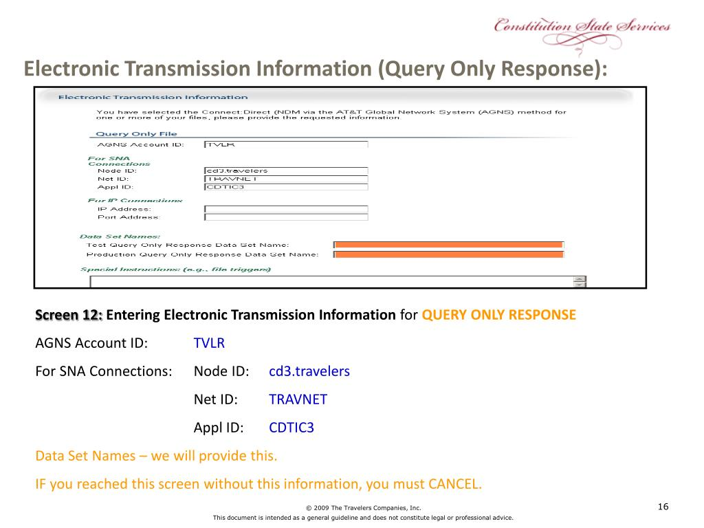 Electronic Transmission Information (Query Only Response):