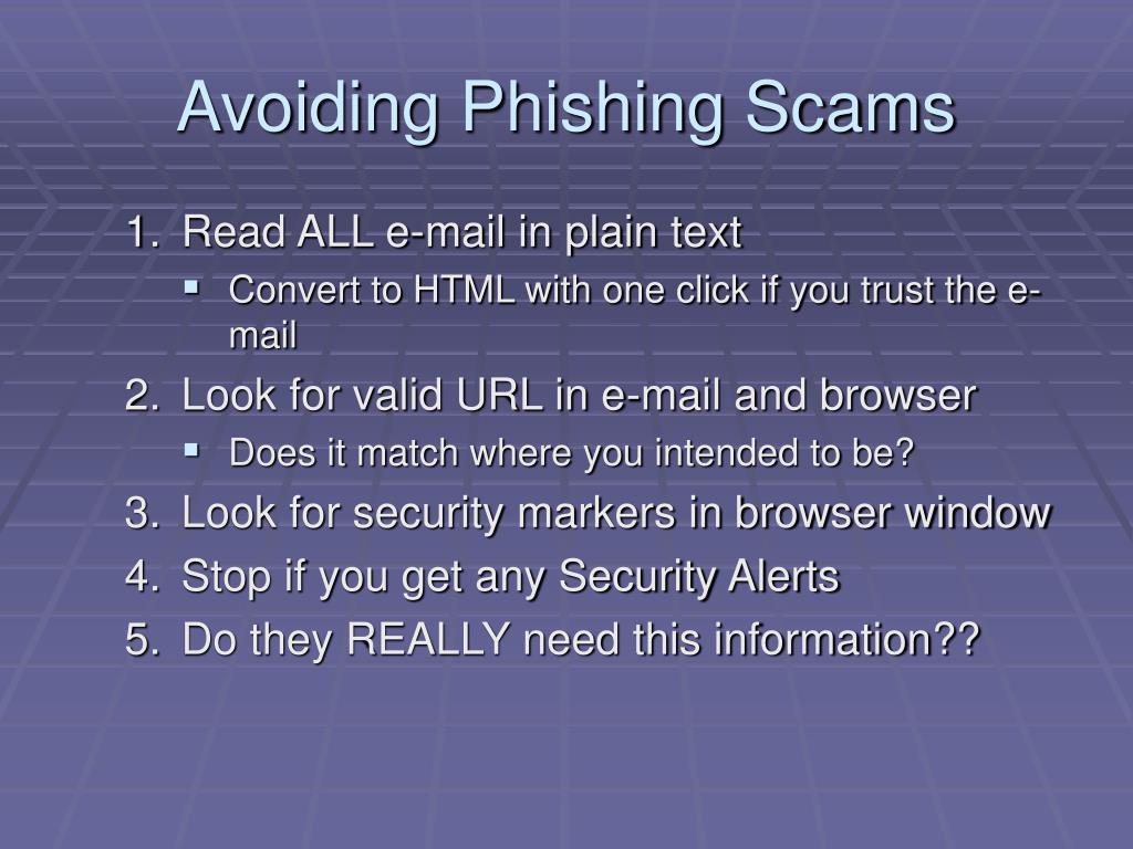 Avoiding Phishing Scams
