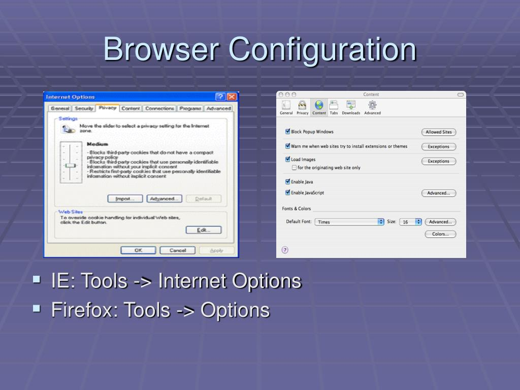 Browser Configuration