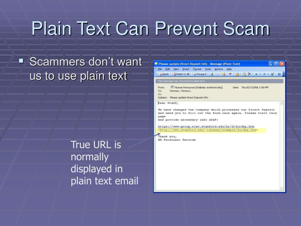 Plain Text Can Prevent Scam