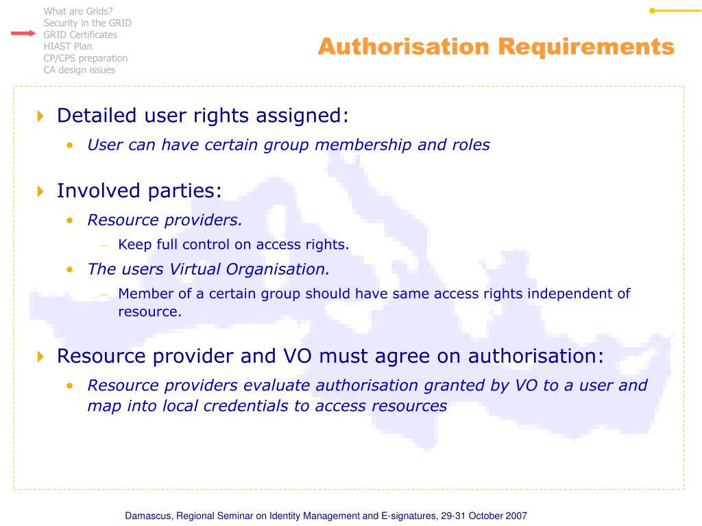 Authorisation Requirements