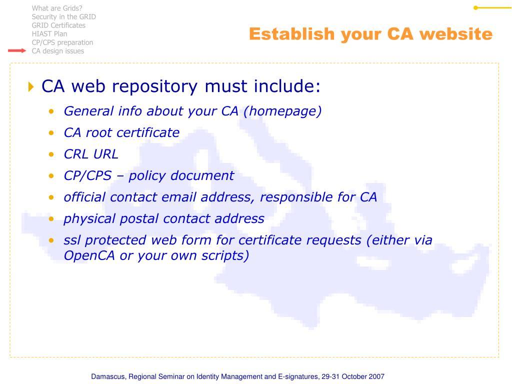 Establish your CA website