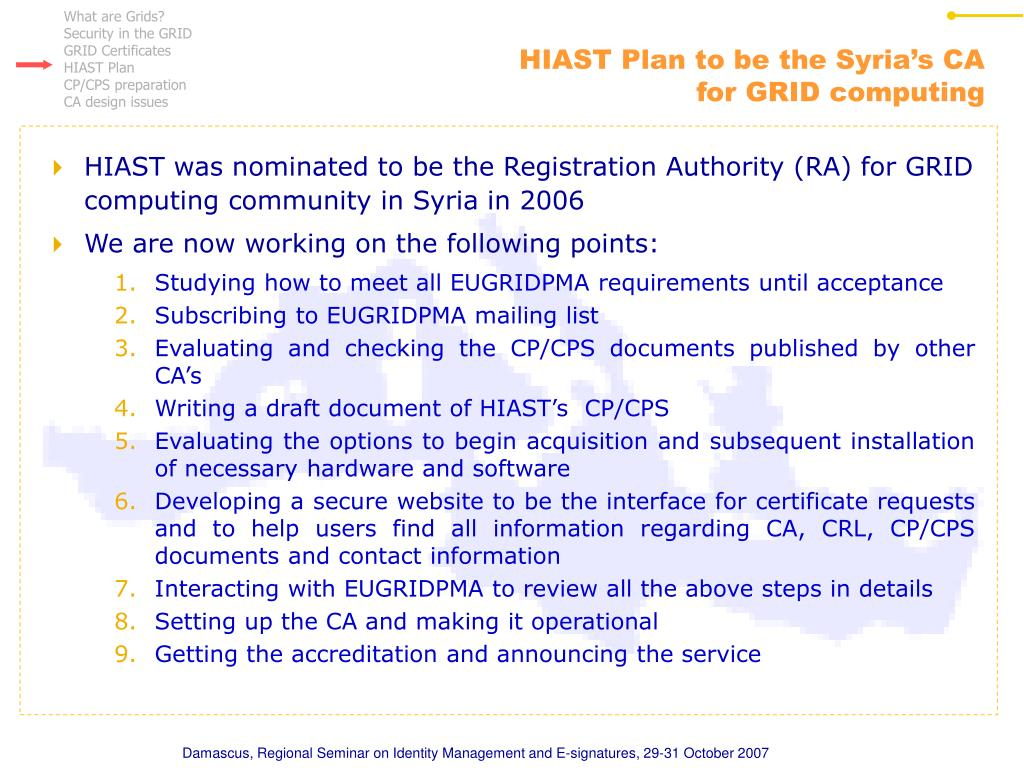 HIAST Plan to be the Syria's CA