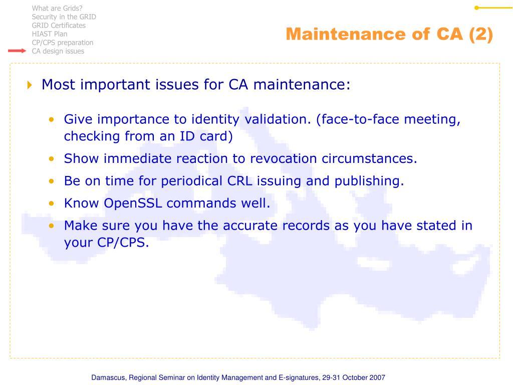 Maintenance of CA (2)