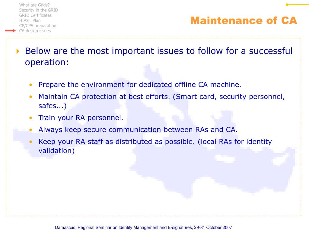 Maintenance of CA