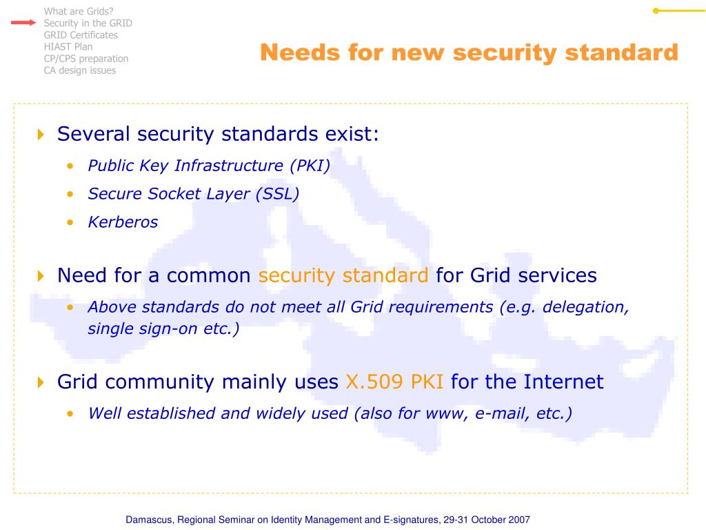 Needs for new security standard