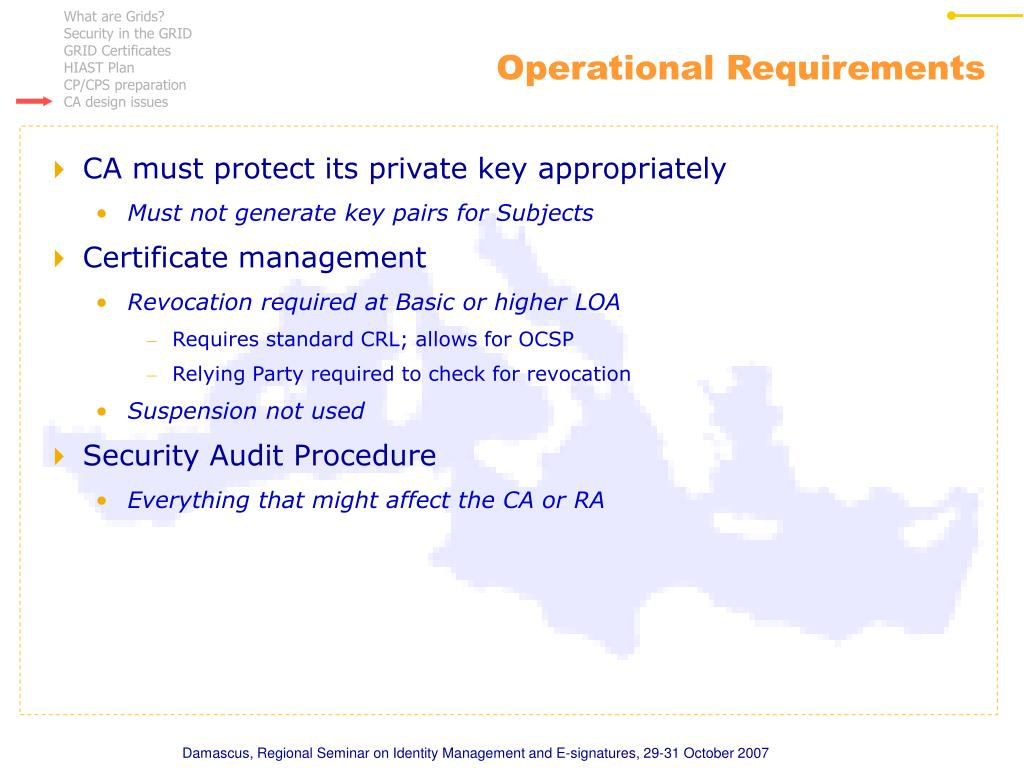 Operational Requirements