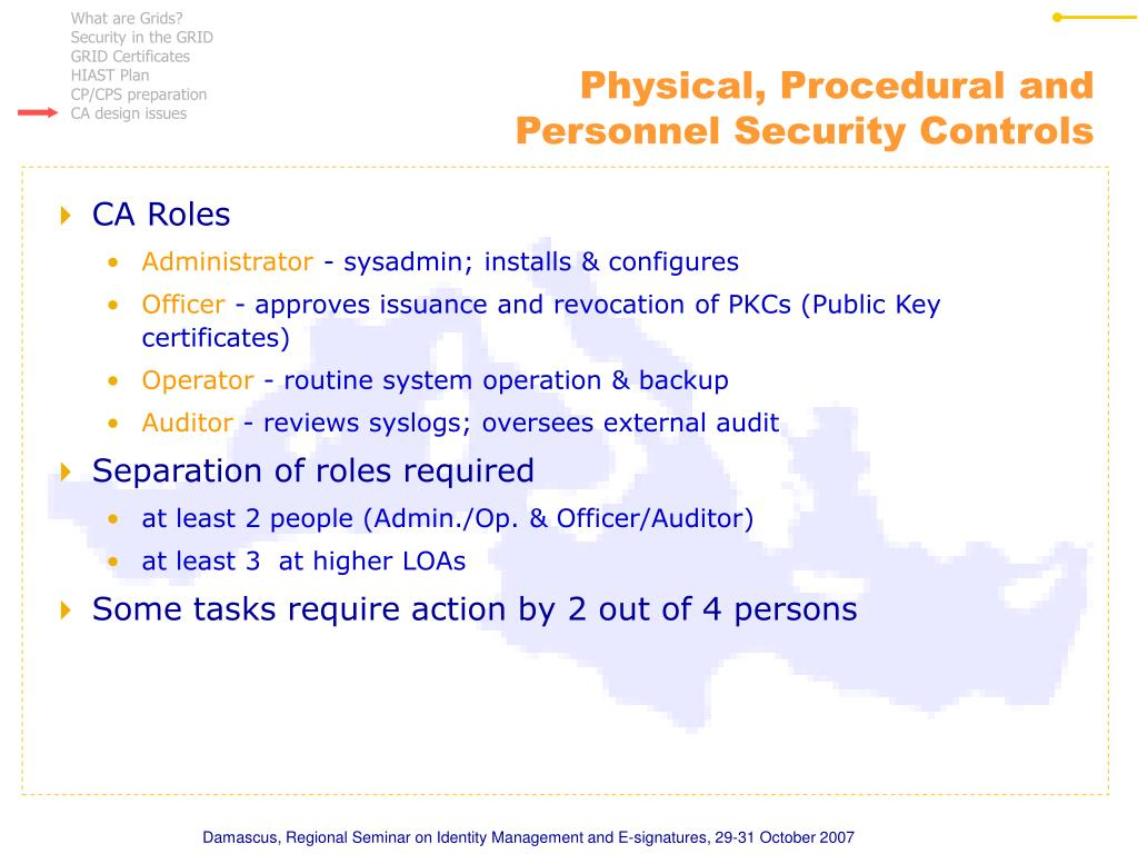 Physical, Procedural and Personnel Security Controls