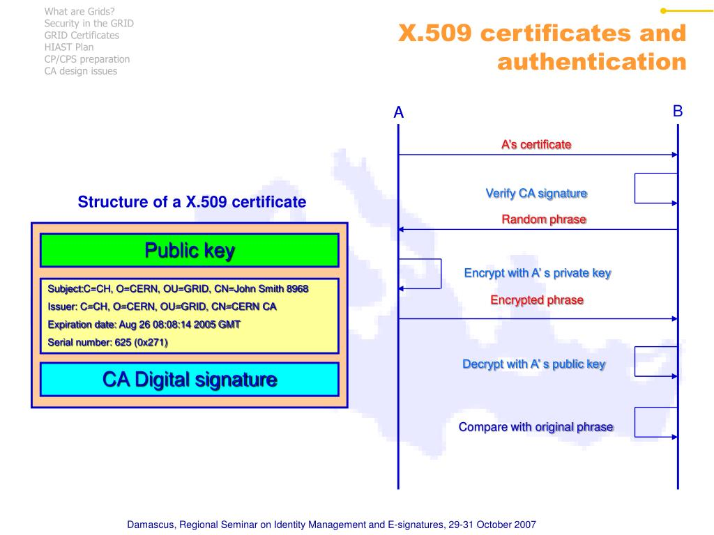 Structure of a X.509 certificate