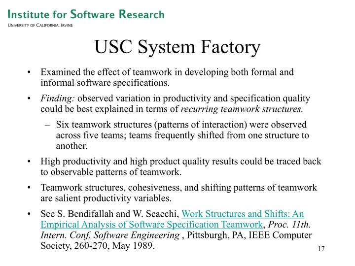 USC System Factory