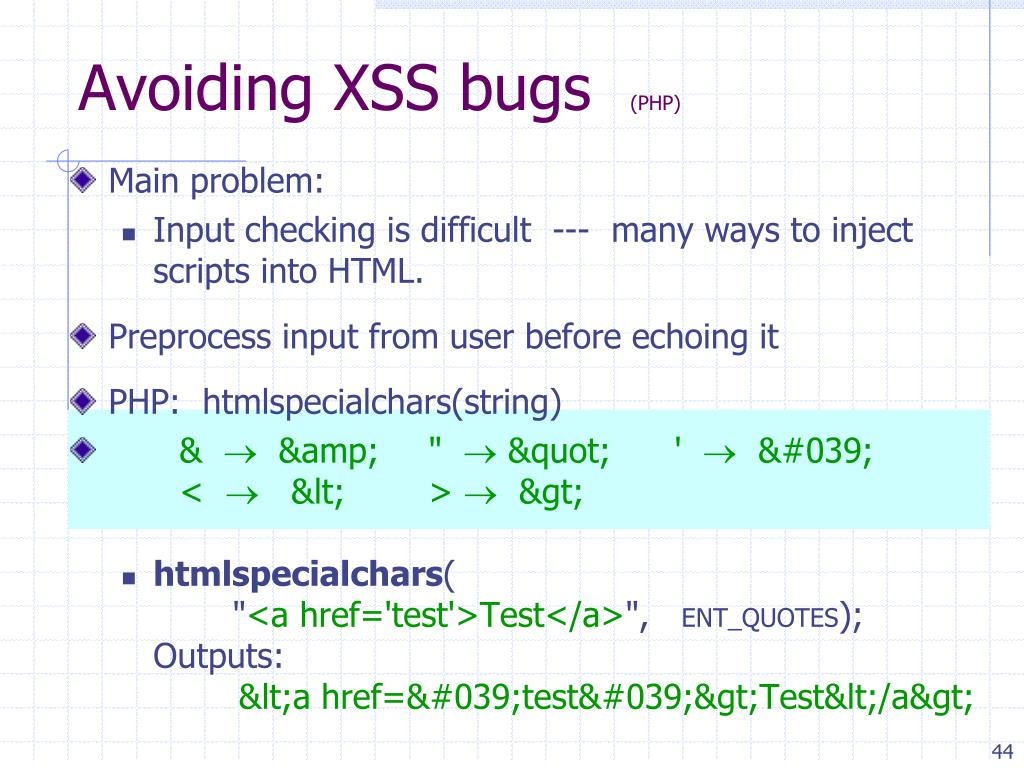 Avoiding XSS bugs