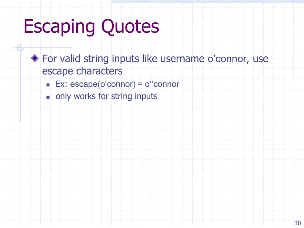 Escaping Quotes