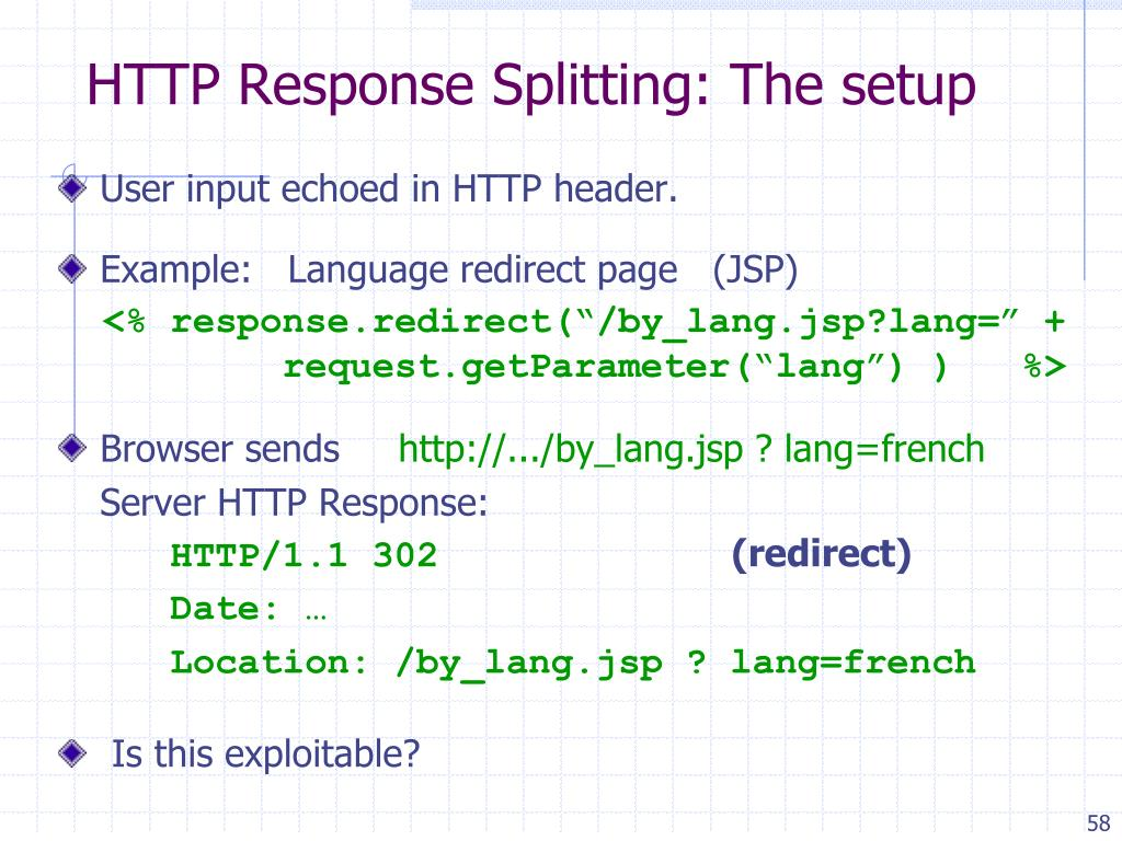 HTTP Response Splitting: The setup