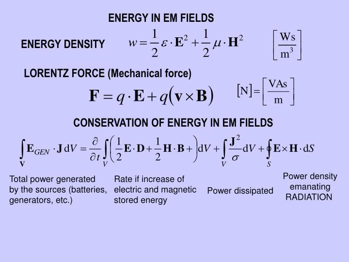 ENERGY IN EM FIELDS