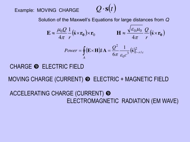 Example:  MOVING  CHARGE