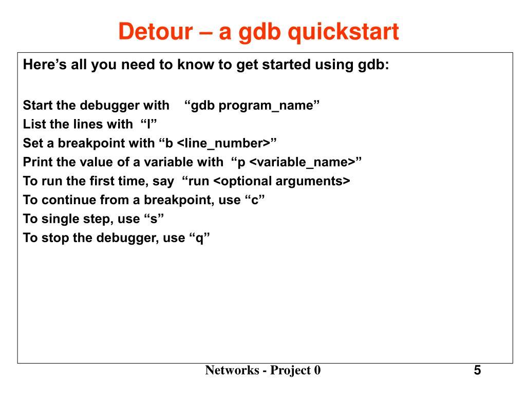 Detour – a gdb quickstart
