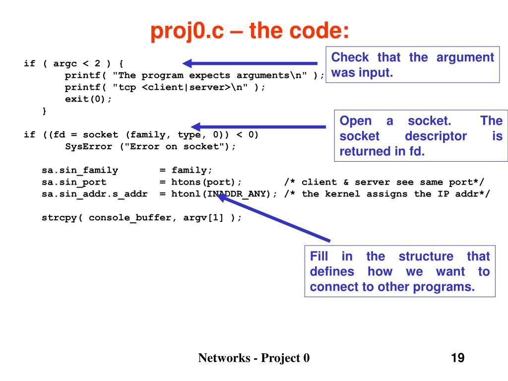 proj0.c – the code: