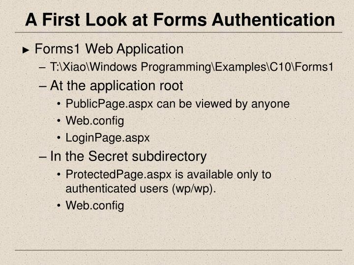 A First Look at Forms Authentication