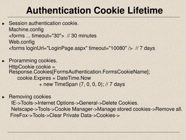 Authentication Cookie Lifetime