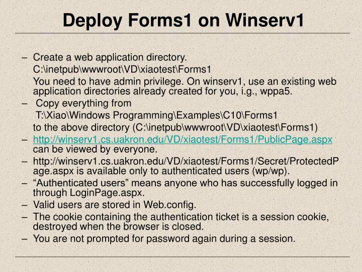 Deploy Forms1 on Winserv1