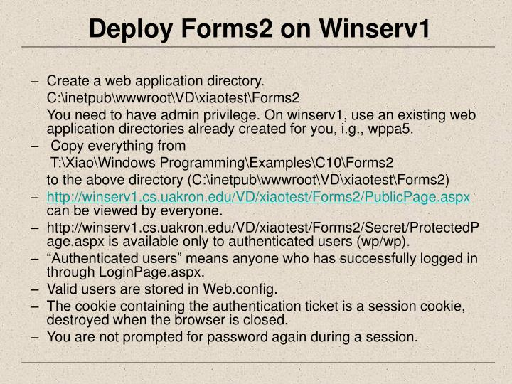 Deploy Forms2 on Winserv1