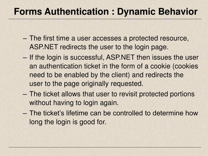Forms Authentication : Dynamic Behavior