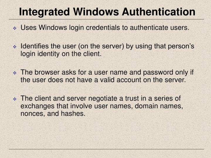 Integrated Windows Authentication