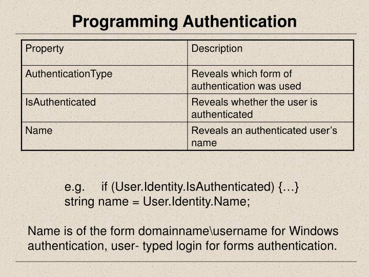 Programming Authentication