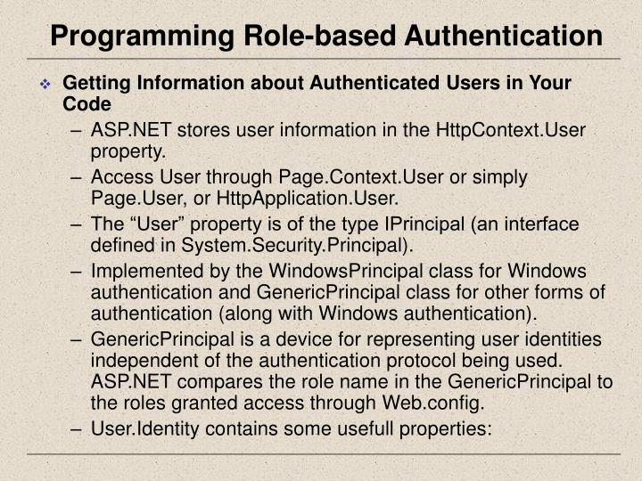Programming Role-based Authentication